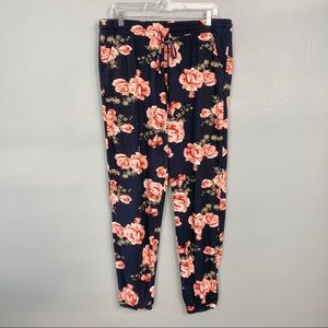Hot Kiss Navy Rose Floral Pull On Jogger Pants